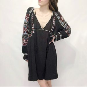 Free People Gray Textured Embroidered Shift Dress